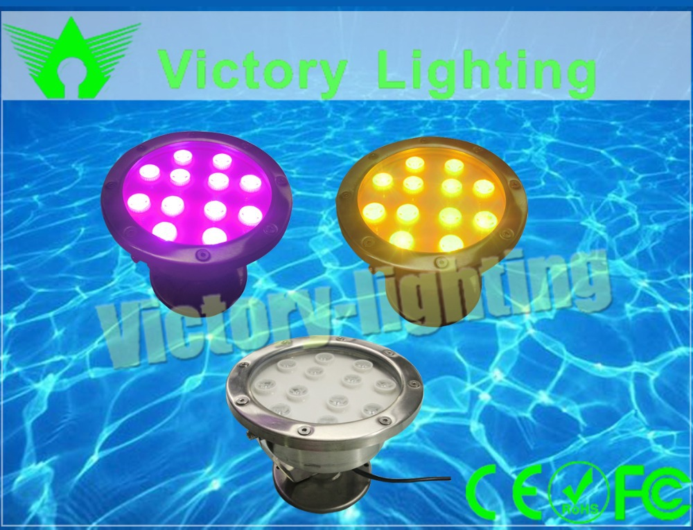 36W Color changing stainless steel DC12V-36V Swimming pool Underwater light LED for fountain