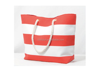 wholesale custom summer stripe canvas rope handle beach tote bag