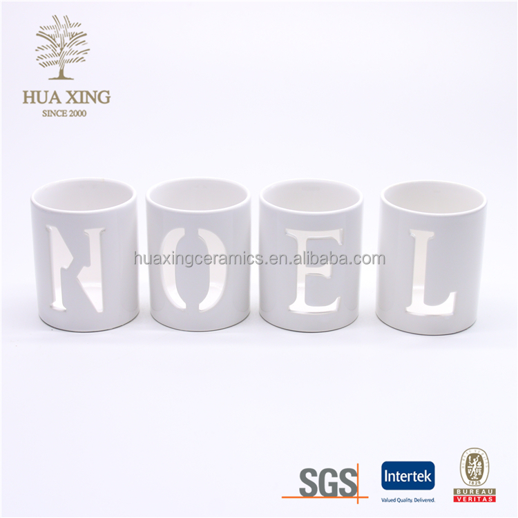 The letter JOY,SNOW,NOEL,HOPE,LOVE,Christmas white ceramic candle cups,porcelain candlestick