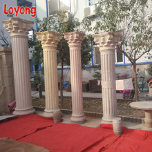 Indoor decorative roman column antique carved wooden pillar