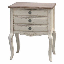 French style rustic stained 3 drawers bedside cabinet chest