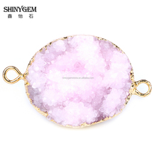 Cheaper price oval shape natural druzy quartz necklace druzy pendant size 39.5*25mm charm jewelry China factory