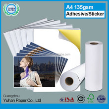 High quality one sided wholesale A4 A3 cast coated roll self adhesive photo paper lable bulk sticker paper
