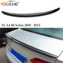 For Audi A4 B8 2009-2012 S4 style carbon fiber rear trunk wing spoiler