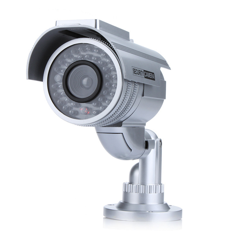 Free Shipping Solar Powered Emulational Fake Camera Dummy Security Camera with LED Light Indoor Outdoor Waterproof wholesale