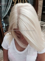 Top Beauty Stock white blonde straight 20 inch 100% Virgin Brazilian human Hair german lace wig
