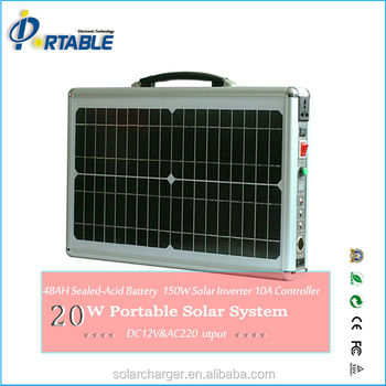 20W solar portable solar lighting system with 4pc high capacity free-maintanence lead acid solar battery