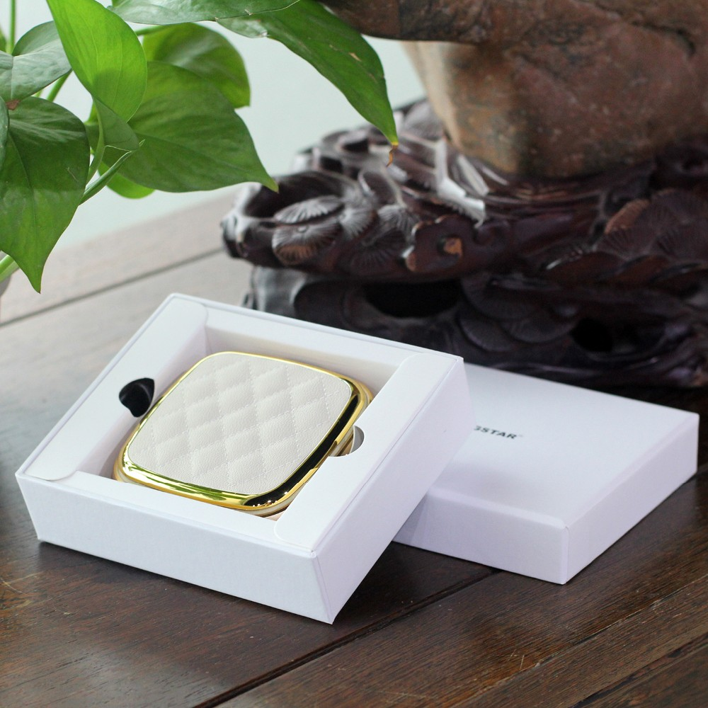 Leather portable mirror charging treasure
