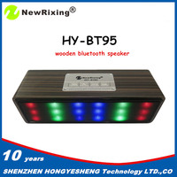 NewRixing 2016 new products factory bottom price Retro mini wood bluetooth speaker with colorful led light