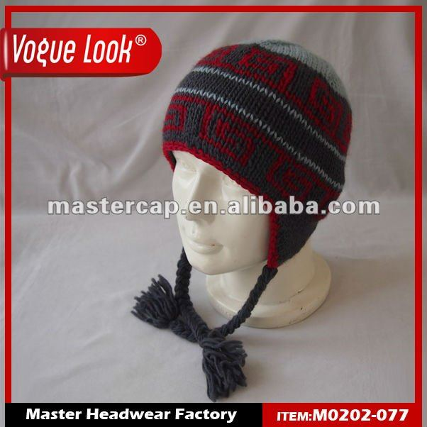 100% Acrylic Jacquard Earflap Beanie Hat With Fleece Lining