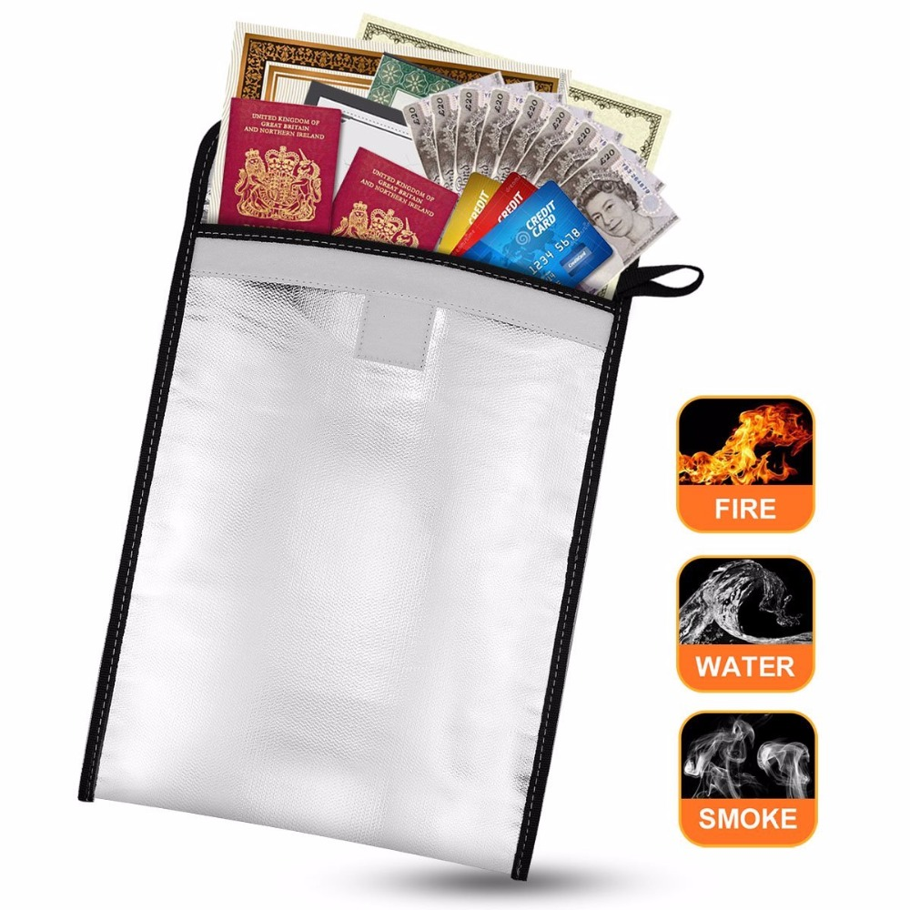 Fireproof Document Bag Aluminum Coated Fire Resistant Protective Bag for Documents Passport Cash <strong>Batteries</strong> and Valuable items