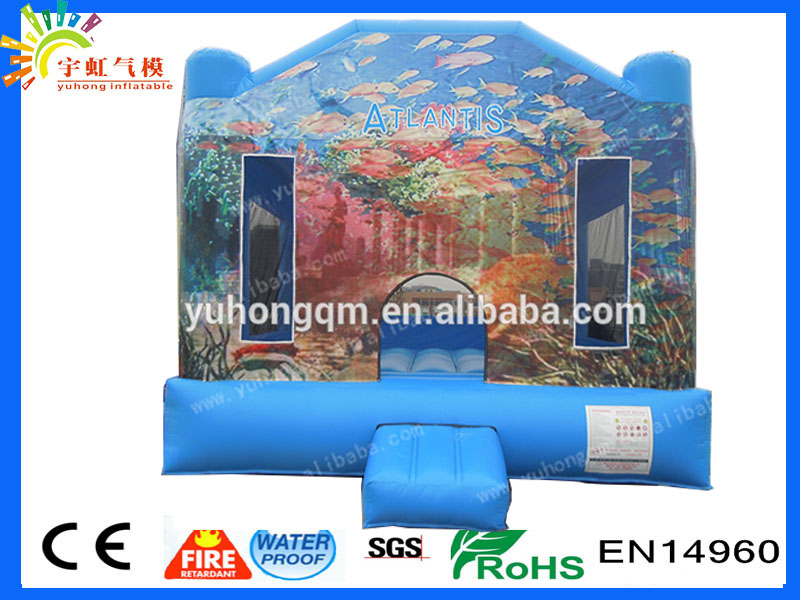 China manufacture customize inflatable bounce house atlantis island bouncy castle