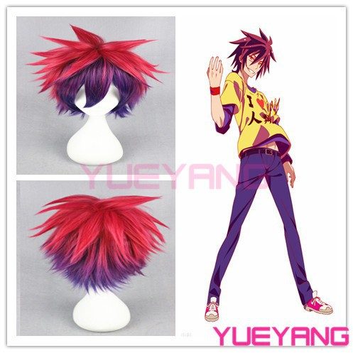 Synthetic No Game No Life Sora red and purple cosplay wigs