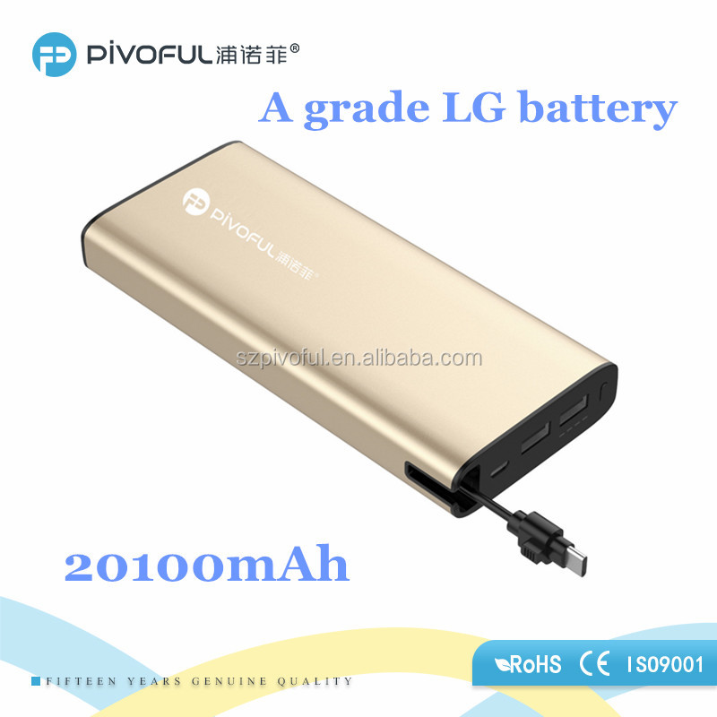 Pivoful 2 USB Ports Portable Rechargeable rohs Power Bank 20000 MAH powerbank
