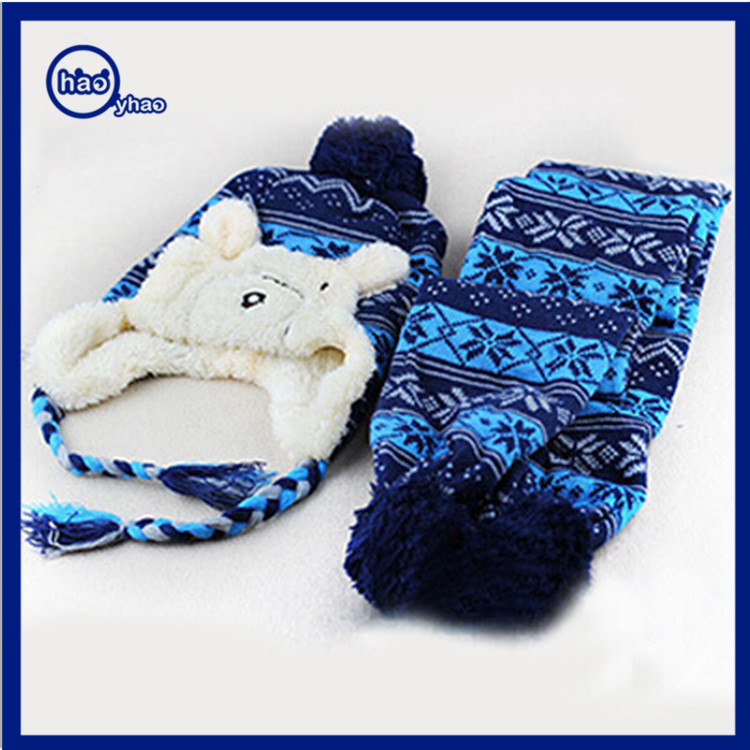 Yhao winter Bear Jacquard knitted beanie hat scarf set