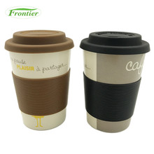 Promotion Low MOQ Biodegradable 12 oz Eco Bamboo Fiber Mug Silicone Lid And Sleeve