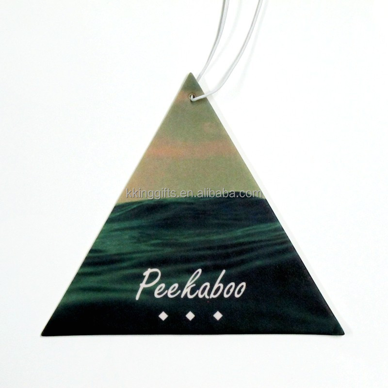 kereta penyegar udara Triangle shaped chewing gum scent hanging paper car air freshner perfume