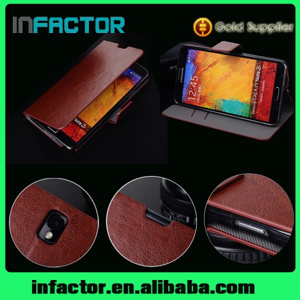 Classical model design leather case for Samsung Galaxy Note 3 genuine leather case