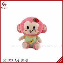 High quality plush baby girl monkey toy wear clothes soft stuffed cartoon animal dolls