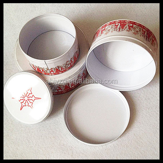 round vintage cake box packaging for wedding from tin can manufacturer