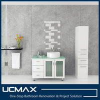 tempered glass top white bathroom vanity with vessel sink
