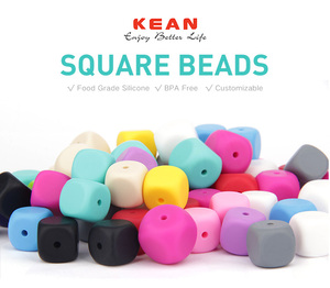Kean food grade Bpa free silicone baby teething loose beads for necklace and pacifier chain