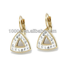 Trangle Shape Stainless Steel Earrings With CZ Stone
