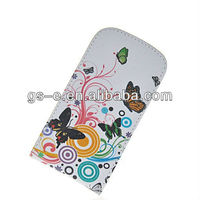 Well protective floral flower style for Samsung Galaxy S3 Mini I8190 flip genuine leather wallet smart cover case