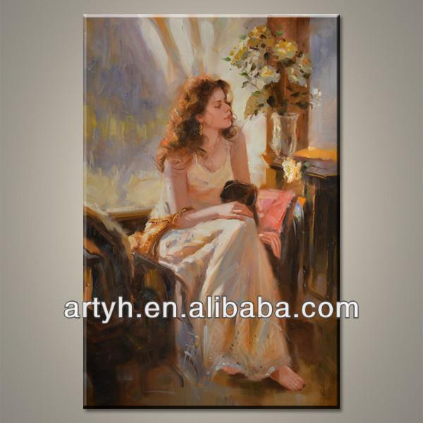 Handmade canvas classic art of women painting