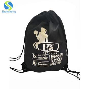 High quality Promotion Eco-friendly Polyester Drawstring Plain Cotton Tote Custom Gym Bag