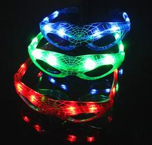 Party Glow Mask Colorful LED Spiderman Glasses Cartoon Flashing Glasses Light Halloween Decoration Christmas Supplies Eyewear