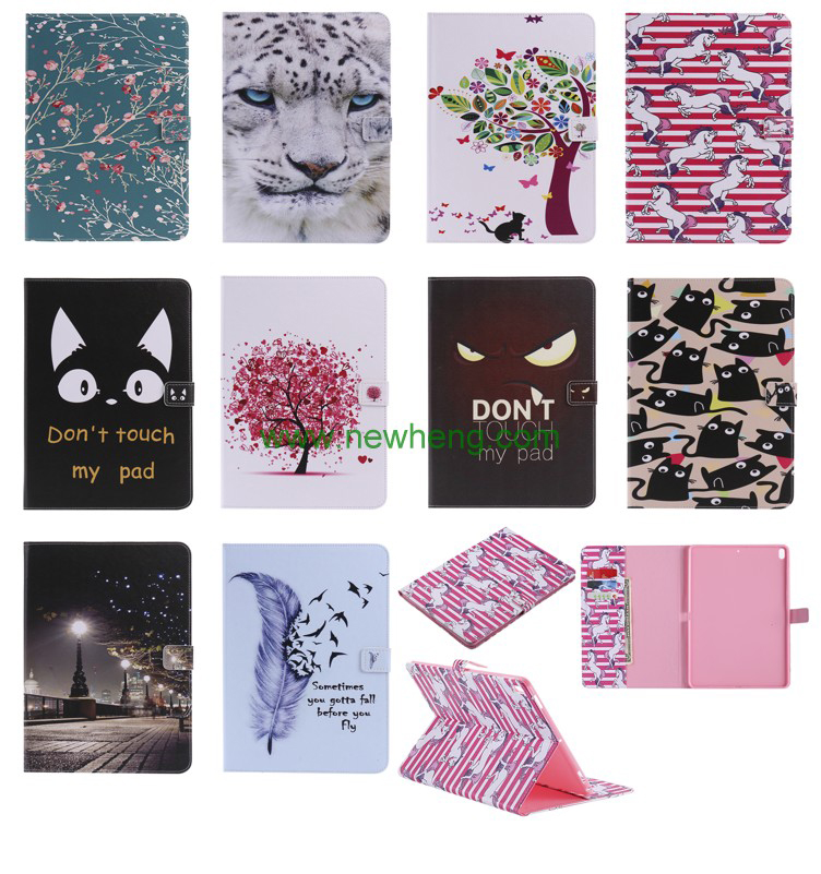 Fancy Cartoon Pattern Painted Flip Stand PU Table Leather Case For iPad Pro 10.5""