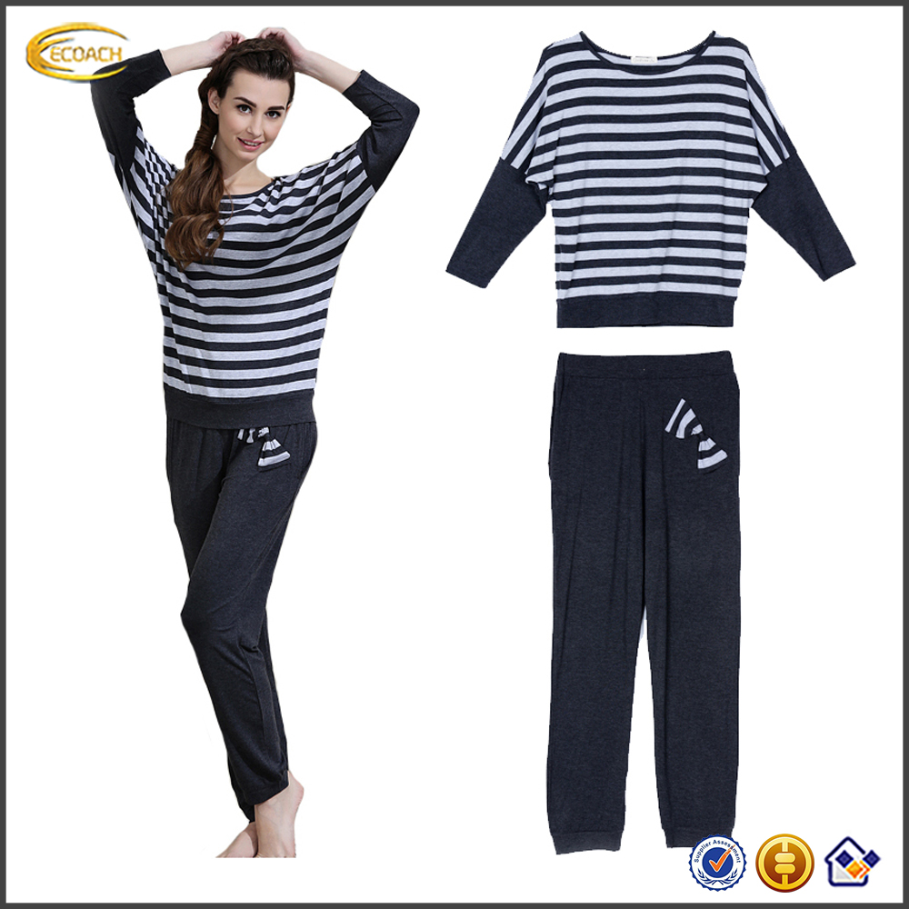 Ecoach wholesale Autumn Spring Striped Long Bat sleeve pajamas women sleepwear pajamas women cotton women's pajamas