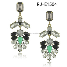 Gem emerald eardrop leaves stud earrings 2014 new style earrings
