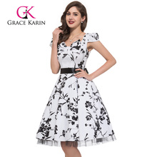 Grace Karin Mature Ladies Cap Sleeve Retro Vintage Style Cotton Summer Dresses CL4598-1