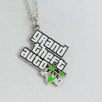 Free shipping Fashion GTA 5 Games Grand Theft Auto V Logo Necklace Pendant N-69
