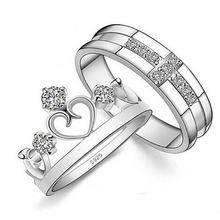 Korean style adjustable couple ring crown and cross shape wedding rings for lover