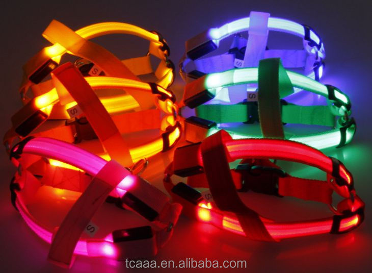 Factory custom nylon colorful led glowing dog harness