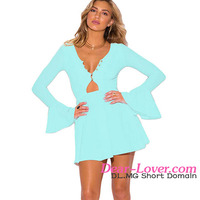 Women Light Blue Long Bell Sleeve Neck A Line free prom dresses