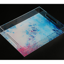 clear rectangle customized Acrylic Fruit Drink Serving Tray with paper insert
