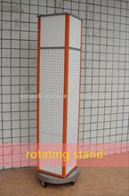 hot sale big floor standing rotating pegboard display stand with wheel