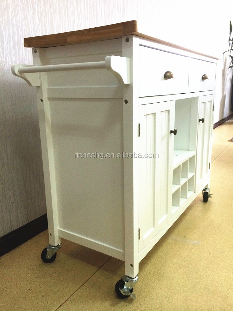 Bamboo Top Wooden Kitchen Serving Trolley With Wheels White Kitchen Trolley Cart Luxury Kitchen