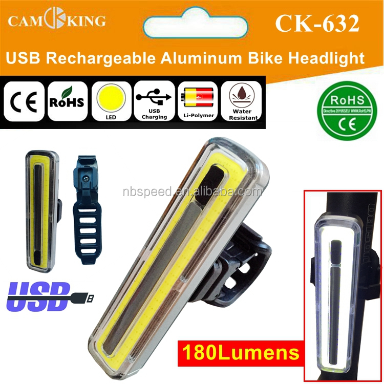 USB rechargeable COB LED Aluminum Bike HeadLight 180lumens with Helmet Mount