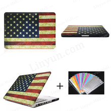 Most Popular USA Flag PC Case for Macbook Pro 13.3 inch with Keyboard Protector