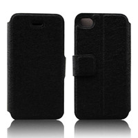 Leather flip case for iphone 4 5 accept any texture customization