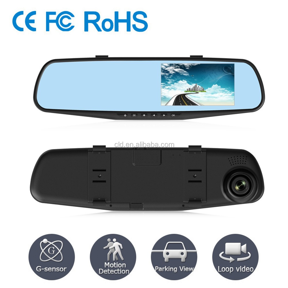 Good Quality 4.3 inches Screen Reverse rearview mirror two camera car dvr