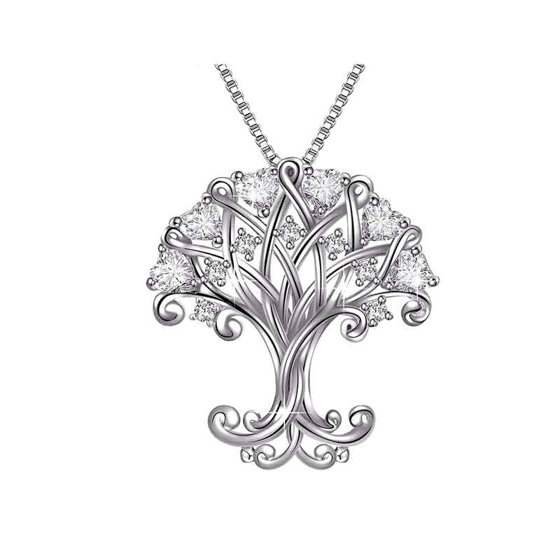 Novelty Mirco paved cz stone necklace big tree pendant necklace