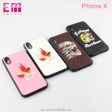 Lagging leather embroidery soft tpu cell phone case for iphone x
