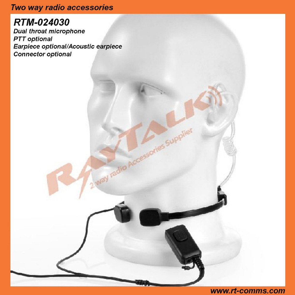Acoustic tube earphone with throat microphone for Sepura STP9000