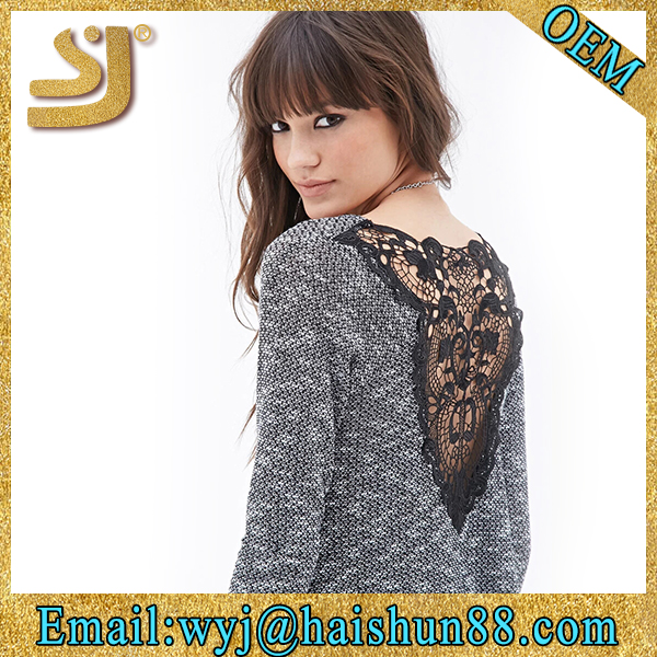 Autumn solid color college girls lace sweater